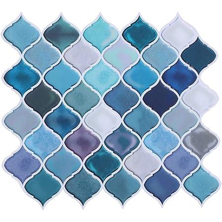 """HUE DECORATION Peel and Stick Decorative Tile - Arabesque Design, Modern Turquoise Smart Tiles, Stick-On Backsplash Tiles for Kitchen/Bathroom 10x11.26"""" (Pack of 6)"""