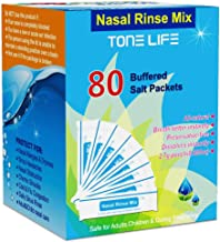 TONELIFE 80 Count Saline Nasal Care Refills - Nasal Salt 2.7g Each Pouch   Refill Kit   80 Buffered Salt Packets   for 300ml 500ml Nasal Rinse Bottle-Nose Cleaner-Nose Wash