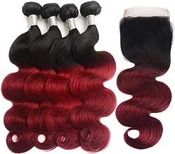 IMAYLI Ombre Brazilian Hair Body Wave 4 Bundles with Closure Two Tone Ombre Bundles Dark Red 1B Burgundy Virgin Human Hair Extensions 99J Body Wave Weave 1B/Burgundy(14141414+12)