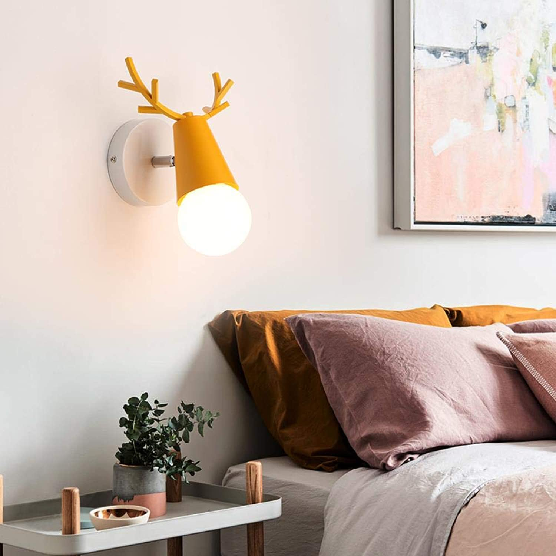 Europe Style Macaron Antlers Schlafzimmer Wandleuchten Modern schlicht Kreativ Wohnzimmer Gang LED E27 Wandleuchte, 3 Lampen, gelb