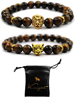 18k Gold Lion Bracelet + Leopard Set Yellow South African Tiger Eye Healing Crystal Stone Beaded Bracelet + Leather Bag | Release Fear and Anxiety | Courage, Self Confidence and Creativity | Men/Women