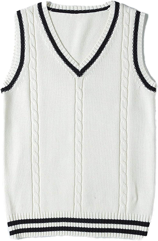 Vsaiddt Women's Pullover Cable Knit Sweater Vest JK Uniform School Sleeveless Sweater