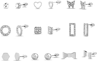 Steve Madden Rhinestone Ball Bow Butterfly Heart Stud Earrings for Women Nine Pair Set