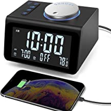 【Upgraded】 Digital Alarm Clock, with FM Radio, Dual USB Charging Ports, Temperature Detect, Dual Alarms, Snooze, 5-Level B...