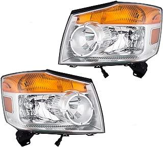 Driver and Passenger Halogen Combination Headlights Headlamps Replacement for 08-15 Nissan Armada 26060-9GA0B 26010-9GA0B AutoAndArt