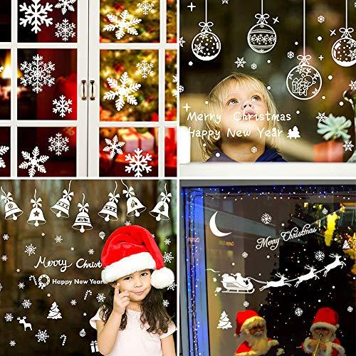 shirylzee Schneeflocken Fensterbild 164 Stück Fensterbilder für Weihnachten 8 Sheet Fensteraufkleber Statisch Haftende PVC Aufkleber Winter Dekoration für Schaufenster, Türen, Vitrinen, Glasfronten