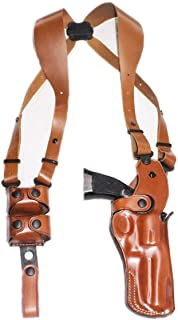 Premium Leather Vertical Shoulder Holster System with Double Speed Loader, Smith Wesson N-Frame Model 29/629 Standard Barrel 44 Mag 4''BBL, R/H Draw, Brown Color #1259#