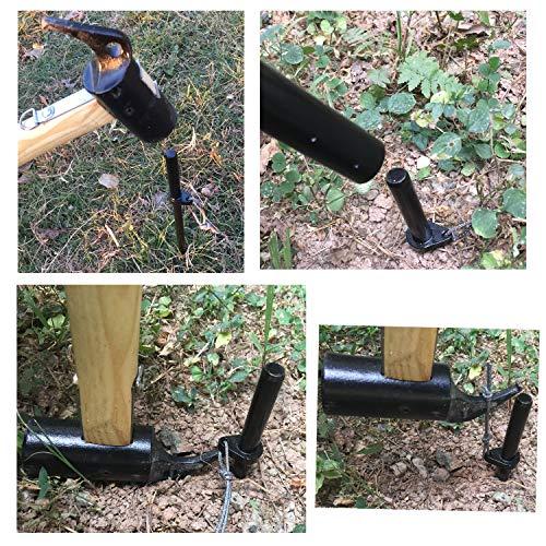 FLYFLYGO進化版ランタンスタンドランタンポールアルミ製ランタンハンガーランタンフック付きペグ付き(ブラック)
