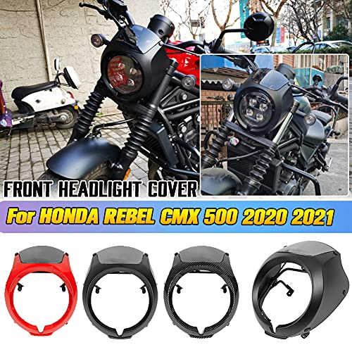 AHOLAA Scheinwerfermaske Windschutzscheibe Frontverkleidung für Honda Rebel CMX 500 CMX500 REBEL 500 2020 2021,CMX500 Motorrad Zubehör Frontscheinwerfer Abdeckung (Schwarz)