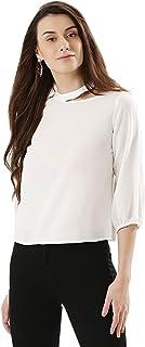 Koovs White Round Neck Blouse For Women