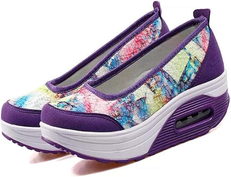 Btrada Women Wedges Sneakers High Heel Platform Walking Loafers Lightweight Slip-on Fitness Work Out Sneaker shoes