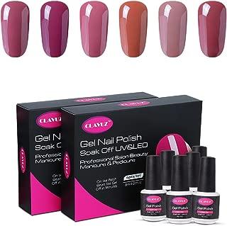 CLAVUZ 6pcs Gel Nail Polish Colors Collection Set Soak Off UV Led Nail Varnish Nail Arts Gift Kits Manicure Lacquers
