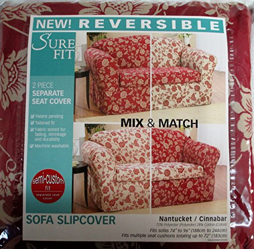 Sure Fit Reversible Sofa Slipcover Couch 74 - 96 inches Wide Nantucket Cinnabar Floral 2 Piece