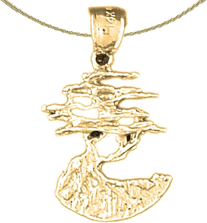 Jewels Obsession 5 popular 14K Yellow Gold Cedar Pendant Luxury goods 18