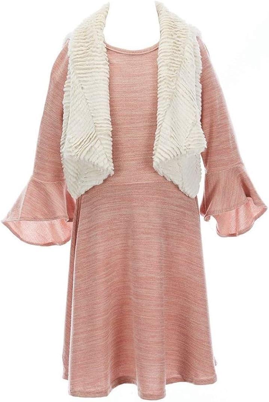 Rare Editions Girls Size 7-16 Blush Pink Sweater Dress Ivory Fur Vest Set