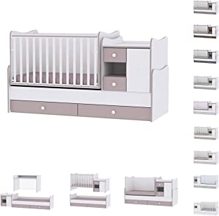 Lit bébé évolutif/combiné MiniMax 3en1 Lorelli blanc/capuccino (le lit bébé se transforme en: bureau, armoire, lit d'adole...