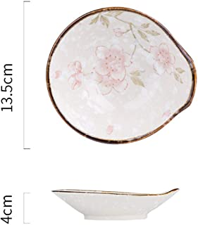 Rice Salad Soup Bowl Steak Plate Serving Dish Japanese Cherry Blossom Hand Painted Ceramic Tableware,5.3In Sauce Bowl