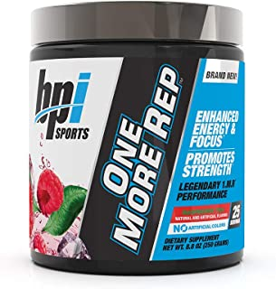 BPI Sports One More Rep Pre-Workout Powder - Increase Energy & Stamina - Intense Strength - Recover Faster - Beetroot - Carnitine - Citrulline - 0 Calorie - Raspberry Tea - 25 Servings - 8.8 oz.