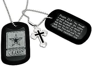 Kriskate & Co. U.S. Army + Psalm 23:4 Bible Verse Inscription Aluminum Dog Tag Necklace