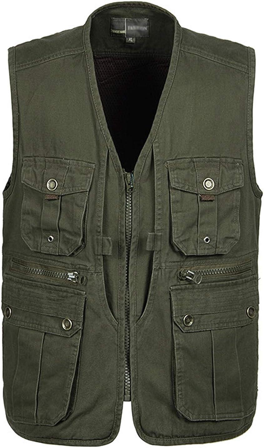 Yimoon Men's Sleeveless Zip Up Fishing Photo Safari Outdoor Vest with Pockets