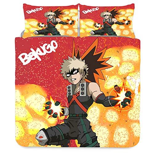 Jiaxiin My Hero Academia - Bakugou Katsuki Explosion Juego de Funda nórdica para Ropa de Cama 3 Piezas Funda de edredón Funda de Almohada de algodón (EU-SuperKing)