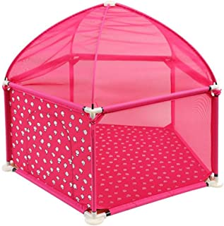 ポータブル折りたたみ式プレイプレーンプレイヤード、安全ゲームプレイステーションアクティビティセンターテント付きフェンス、赤ちゃん幼児用 (色 : ローズレッド)