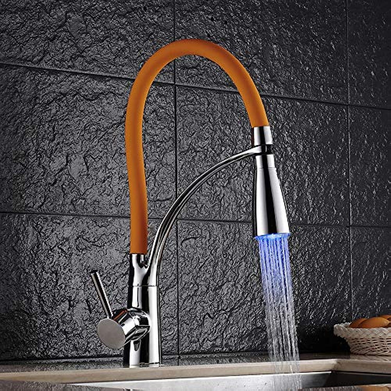 AXWT Europische Art-Küchen-Hahn-Wanne Drehen Sich Ziehen Ziehen Wasserhahn Führte Küche-kalte Hitzeverfrbungshhne (Farbe   Orange)