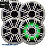 Kicker - Four OEM Replacement White LED 6' 390 Watt 2-Way Marine/Boat Car Audio Coaxial Speakers KM6LC