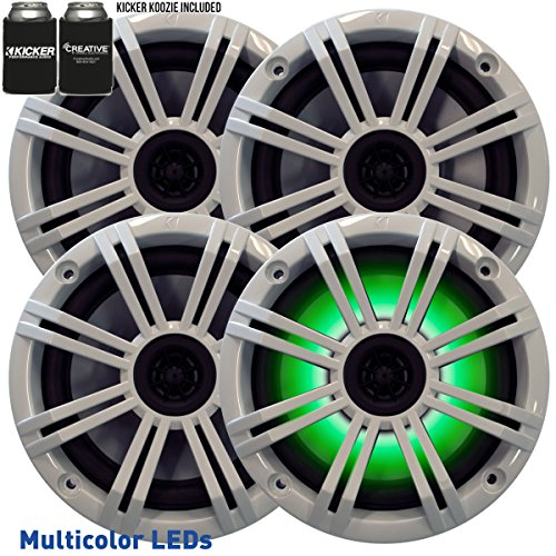 """Kicker 6.5"""" White LED Marine Speakers (Qty 4) 2 Pairs of OEM Replacement Speakers"""