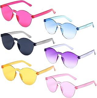 6 Pack Neon Colors Kids Sunglasses UV Coating Glasses Party Favor Eyewear