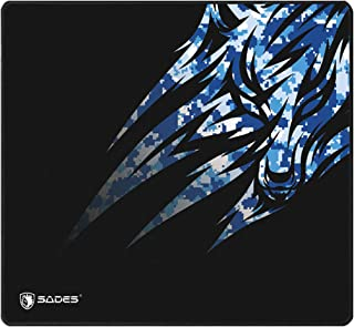 SADES Hailstorm Gaming Mouse Pad, Stitched Edges, Black Blue Wolf Pack Design, Pixel-Perfect Accuracy Optimized for All Co...