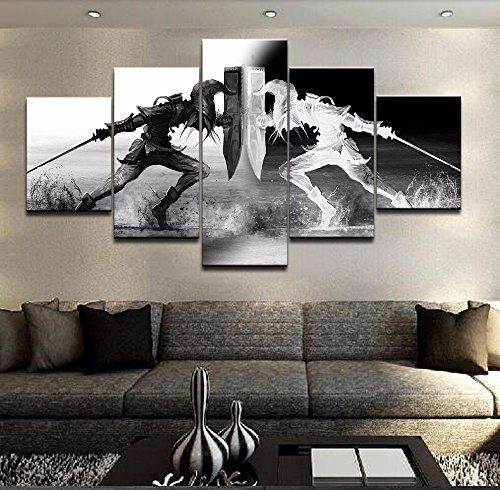 Arte de la Pared Vikingos Imágenes Decoración del hogar 5 Piezas La Leyenda de Zelda Lona Pintura HD Impreso Juego de Dibujos Animados Póster,A,30×50×230×70×230×80×1