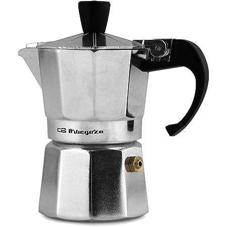 Orbegozo KF 600 - Cafetera italiana de aluminio, 6 tazas de capacidad, mango ergonómico, tapón de seguridad, filtro desmontable