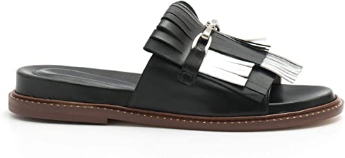 LORENZO MASIERO - noir and argent Fringed Slippers - S192730 S192730 S192730 Nappa noir b39