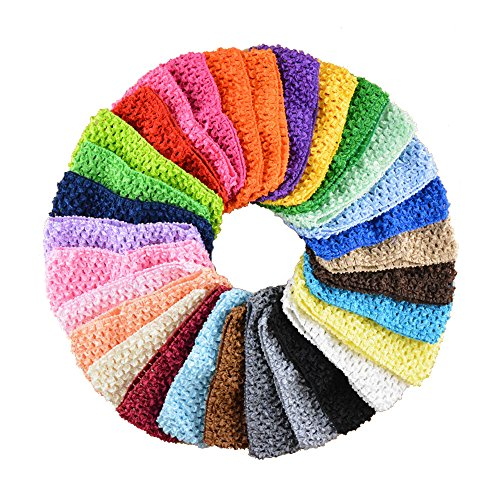 BERON Pack of 30 2.8' Width Silk Elastic Crochet Headbands for Baby Girl Kids (AID03)