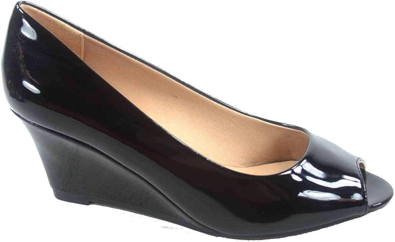 FZ-Doris-12 Women's Fashion Patent Open Toe Low Wedge Heel Sandals Shoes