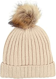 LLmoway Kids Beanie Hats Toddler Infant Boys Girls Warm Cable Knit Cap with Pom