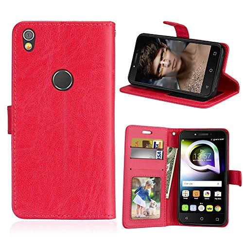 Alcatel Shine Lite Hülle, SATURCASE Glatt PU Lederhülle Magnetverschluss Flip Brieftasche Handy Tasche Schutzhülle Handyhülle Hülle mit Standfunktion für Alcatel Shine Lite 5080X (Rot)