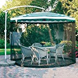 yong 9/10FT Outdoor Umbrella Table Screen,Camping Patio Umbrella Screen Umbrella Mosquito Net Tents Outdoor Patio Netting Canopy Mesh,Used for Garden Party Chat,Polyester Netting - Black