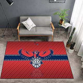 Tritow USA NBA Basketball Tapis NBA Atlanta Hawks Logo Salon Tapis antidérapant Facile à nettoyer Tapis de zone d'impressi...
