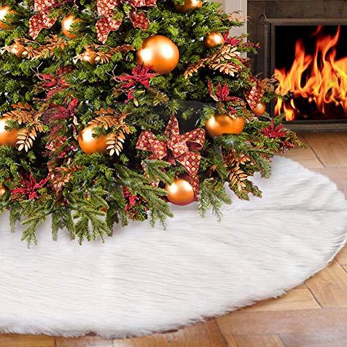 miuline Weihnachtsbaumdecke Weihnachtsdeko Weihnachtsbaum Rock Weiß Plüsch 78/90/120/152cm Geeignet für Geeignet für Büro, Innen, Weihnachtsdekoration (Weiß, 78cm)