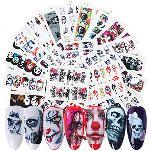 25 Sheets Halloween Nail Stickers Day of The Dead Water Transfer Nail Decals Skull Ghost Eye Hulk Clown Witch Nail Art Stickers Halloween Party Supply Favors Manicure Tips Charms Decoration