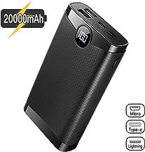 POSUGEAR Powerbank 20000mAh, Bateria Externa para Movil con 3 Entradas de USB C/Micro/L ightning, 2 Salidas y Pantalla LED Compatibles con Todos Los Teléfonos y Tabletas…