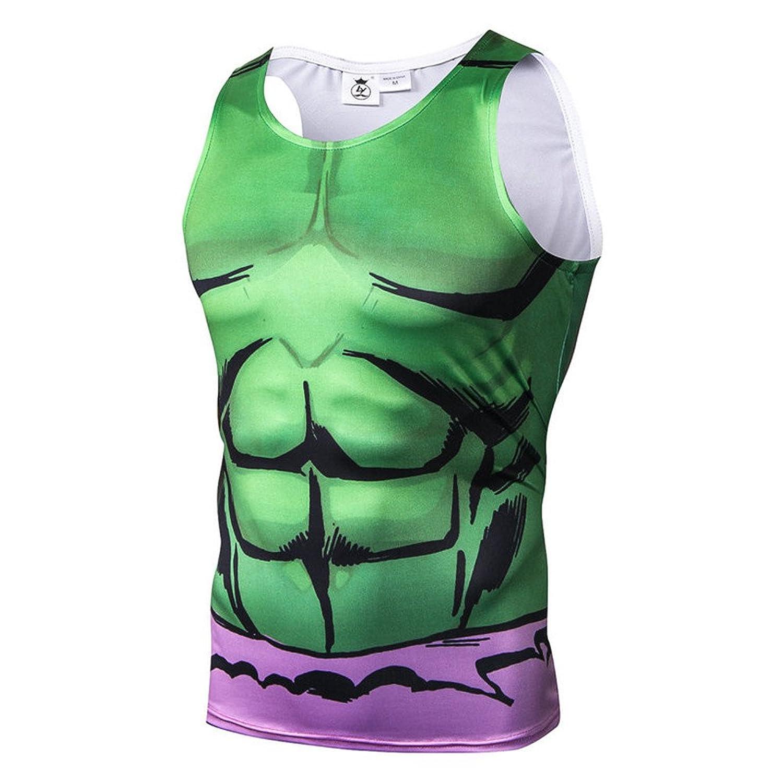 NINI アベンジャーズ ハルク Tシャツ スポーツ tシャツ 3D高品質プリント tシャツ 吸汗速乾 スポーツ tシャツ tシャツ メンズ タンクトップ