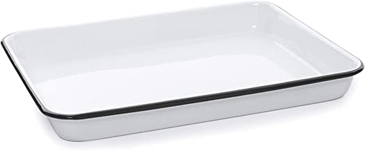 Enamelware Rectangular Tray, 11.25 x 9 inches, Vintage White/Black (Single)