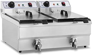 Royal Catering Double Friteuse Electrique Professionnelle 2x10L RCEF-10DY-ECO 2x2500W, 230V, 2 t/émoins lumineux