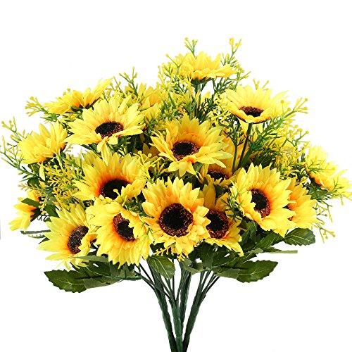 Nahuaa 4pcs Künstliche Sonnenblumen Deko Kunstblumen Sonnenblume Plastik Unechte Blumen Plastikblumen für Frühling Innen Draußen Friedhof Garten Balkon Topf Blumenkasten
