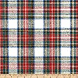 Washable Wool Plaid Cream/Red/Blue, Fabric by the Yard