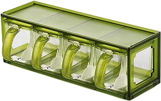 Pots à épices,Tiroir de boîte à épices, récipient à Condiments boîte d'assaisonnement MSG mis Ensemble de Rangement salièr...