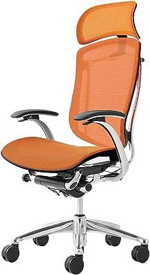 オカムラ オフィスチェア コンテッサ 固定肘 ヘッドレストタイプ 座:メッシュ オレンジ CM81AB-FBH8